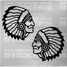 INDIAN CHIEF DECALS X 2 105x100mm each Capt'n Skullys Stickers Online MPN 1403