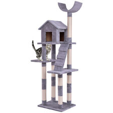 Cat Tree Condo Tower Scratching Posts Pet Kitten Furniture Play House w Ladder