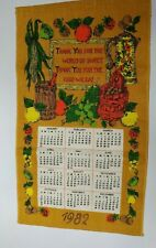 Vintage 1982 Linen Fabric Tea Towel Wall Calendar Thank you for World so Sweet