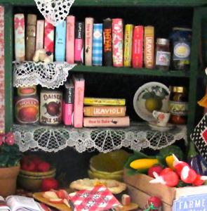 6 KITCHEN COOKBOOKS Set Miniature Dollhouse 1:12 Scale Books PROP Faux Bookshelf