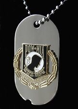 POW MIA Not Forgotten Dog Tag Necklace stainless steel w/ chain 2.2 inches