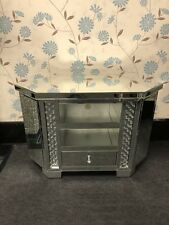 Tall/Large Sparkly Silver Mirrored Glass Floating Crystal Cornet TV Unit Cabinet