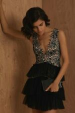 $368 BCBG Tri-Tone Bare Pink Black Scalloped Lace Cocktail Dress Size 6 S Small