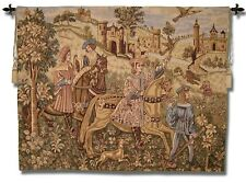 "Large Falcon Hunt Medieval European Wall Art Belgium Tapestry 51"" x 67"""