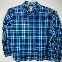 Duluth Trading Co. Mens 2XL Button Down  Blue Plaid  Shirt NWOT's (L45)