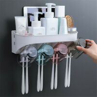 2/3/4 Cups Automatic Toothpaste Toothbrush Cosmetics Holder Wall Mount Stand