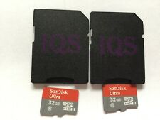 Lot of 2pcs 32gb Sandisk  micro SDHC MEMORY CARD + ADAPTERs for cell,cameras