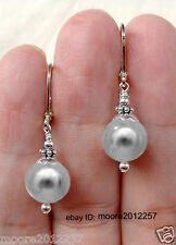 New beautiful grey shell pearl Silver hook Dangle Earrings