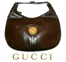 GUCCI ~ large Brown Leather Web GG Reins Shoulder / Hobo Bag ~ AUTHENTIC