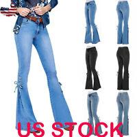 Women's High Waist Stretch Flare Denim Jeans Wide Leg Trousers Bell Bottom Pants