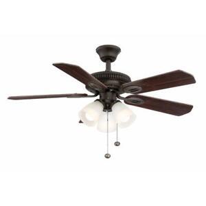 Hampton Bay Glendale 42 in. LED Indoor Oil-Rubbed Bronze Ceiling Fan w/Light Kit