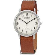 Citizen Chandler Parchment White Dial Mens Mocha Brown Watch BJ6500-21A