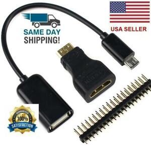 Raspberry Pi Zero Kit Mini HDMI to HDMI Adapter + Micro USB+GPIO Header 3 in 1