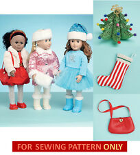 SEWING PATTERN! MAKE DOLL CHRISTMAS OUTFIT~DRESS! SANTA HAT! FITS AMERICAN GIRL!