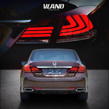 LED Tail Lights For 2013 2014 2015 Honda Accord Red Lens Running Turn Signal