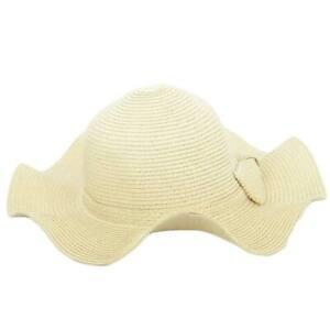 Cappello parasole di paglia ondulato natural donna elegante tesa largasole estat