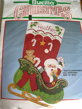 Christmas BUCILLA STOCKING Felt Applique Holiday KIT,SANTA'S SURPRISES,82729,18""