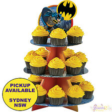 BATMAN PARTY SUPPLIES CUPCAKE STAND BIRTHDAY CAKE TREAT WILTON HOLDER SUPERHERO