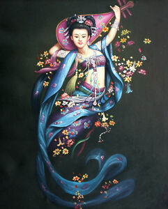 """Hand Painted Traditional Lady Musician Oil Painting Collectible Art Sz 20"""" x 24"""""""