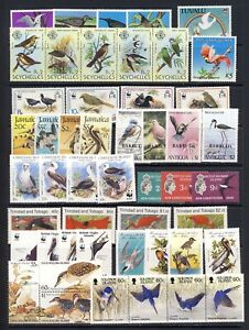 Bird on Stamp collection from British Colonies mnh vf complete sets 132.00