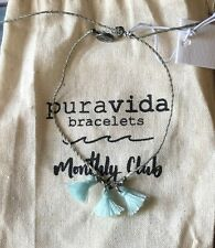 Anklet with Silver Beads/Nwt/ May Pack Pura Vida Gray and Blue Triple Tassel