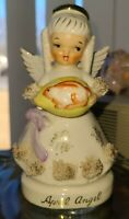 VINTAGE NAPCO FABULOUS APRIL ANGEL SPAGHETTI TRIM&HOLDING EGG&RABBIT #1294