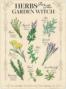 Mini Tin Sign: HERBS FOR THE GARDEN WITCH: spells potion plants kitchen fun gift