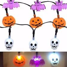 Halloween Bats, Skeleton, Pumpkin Lights 10 LED String Battery Operated 2AA NIP