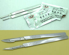 2Pcs Stainless steel Scalpel Handle + 2 package (10 N11 + 10 N23 ) Knife Blade