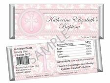 Pink Holy Cross Candy Bar Wrappers - Baptism, Communion, Confirmation Favors