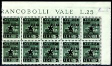 Occupazione Jugoslava Fiume 1945 n. 14 ** - blocco 14 decalco parziale (m1009)
