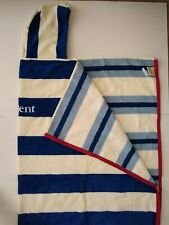 Pottery Barn Kids Blue White Rugby Stripe Beach Pool Hooded Towel Wrap w/ Brent