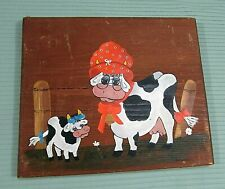 Anthropomorphic Grandma Cow Baby Calf Wood Hand Painted Farmhouse Plaque Free Sh