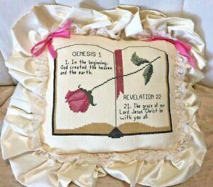 Handmade Cross Stitch Wedding Ring Bearer Pillow Christian Scriptures Satin Lace