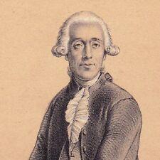 Lithographie Portrait Jean Sylvain Bailly Révolution Mathématiques Astronomie