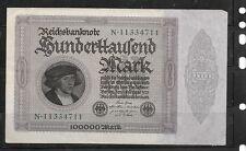 GERMANY GERMAN #83a 1923 VF CIRC 100000 MARK OLD VINTAGE BANKNOTE PAPER MONEY
