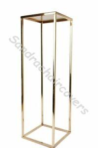70cm Gold Metal Flower Stand Pedestal Centrepiece Wedding Trumpet or rectangle