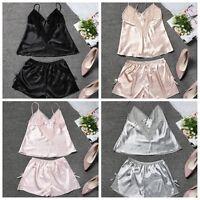 Women Sleeveless Set Pyjamas Camisole Strappy Nightwear Silk Pyjamas Satin