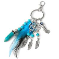 Dream Catcher Keychains Blue Feather Tassel Hamsa Hand Evil Eye Keyring