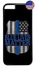 Blue Lives Matter Police Line Rubber Case Cover For iPhone 7 6 6s Plus 5 5s 5c 4