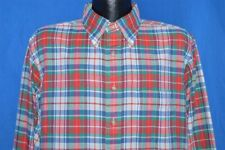vintage 80s Natural Classic Oxford Red Green Plaid Men'S Button Down Shirt Xl
