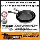 """Cast Iron 2 Piece Skillet Set 12"""" and 14"""" With Pour Spouts Bayou Classic 7453"""