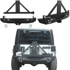 Black Rear Bumper w/ LED Lights & Spare Tire Carrier for Jeep Wrangler JK 07-18