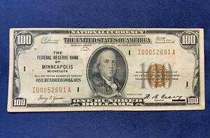 1929 $100 Federal Reserve Bank of Minneapolis National Currency - Free Ship US