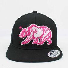 Big Bear California Angry bear snapback Cali Pink and Black Hats