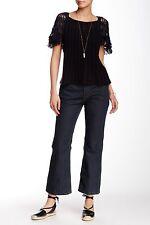 NWT Free People High Rise Crop Capri Denim Flare Jean Jeans Pants Dark Stormy 26