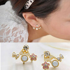 1 Pair Stud Earrings Fashion Korean Style Rhinestone Mini Flower Earrings L1Y