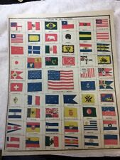 Flags of All Nations 1888, Page From Gaskell's Large Atlas From 1888