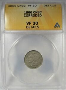 1866 3 Cents ANACS VF30 Details Coin AJ885