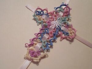 2 Tatted Cross Bookmarks Variegated Pastel Star and Ribbon Dove Country Tatting